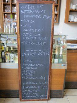 Die Knödel-Speisekarte im Weinhof Österreich