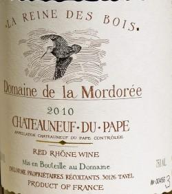 Etikett 2010 Chateauneuf-du-Pape La Reine des Bois | Domaine de la Mordorée