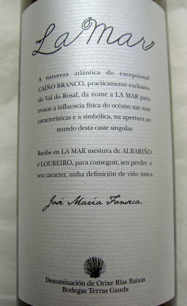 """Etikett 2010 Rias Baixas """"La Mar"""""""