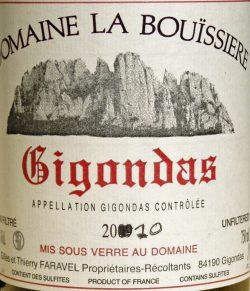 Etikett 2010 Gigondas | Domaine de La Bouissière