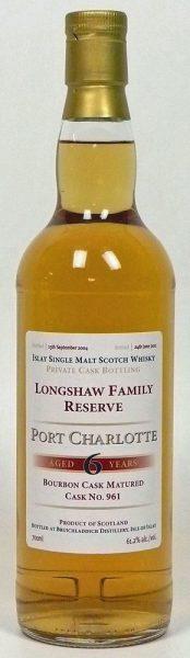 Port Charlotte 6y (2004 – 2011) Private Bourbon Cask 961 (Longshaw Family Reserve) – 61.2%