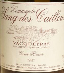 Etikett 2010 Vacqueyras Cuvée Floureto
