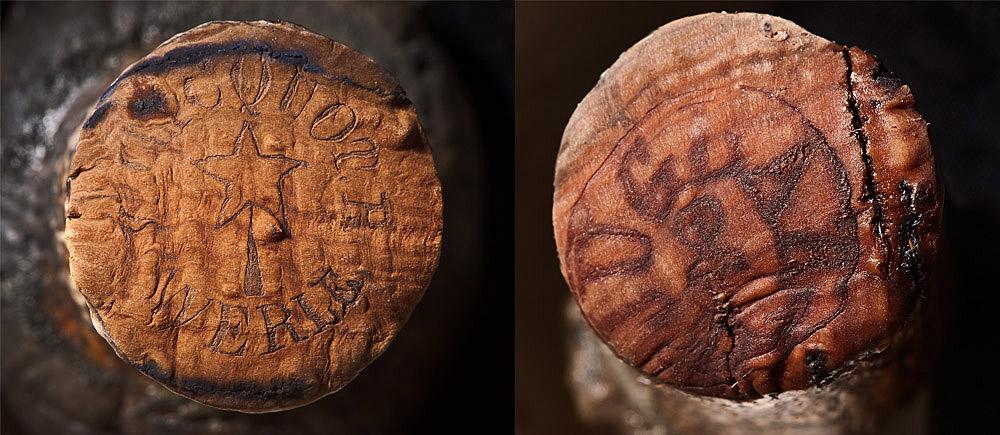 Die Brandmarken von Veuve Clicquot (links) und Juglar auf den Korken