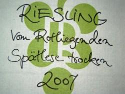 """Etikett 2007 Riesling """"Vom Rotliegenden"""""""