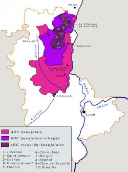 Karte des Beaujolais | Grafik: Cyril5555 (Quelle: wikipedia.de)