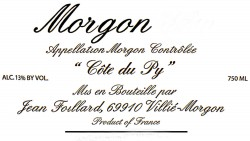 Etikett Jean Foillard Morgon