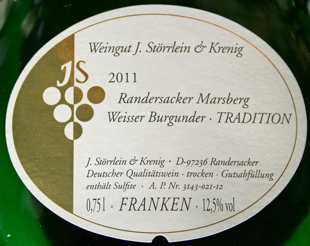 2011 Randersackerer Marsberg Weißer Burgunder Kabinett trocken