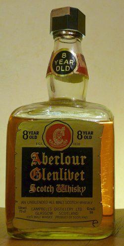 "Aberlour 8 year old cube bottle ""goldgelb"" abgefüllt ~1970 - 50 Gradi"