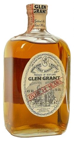 Glen Grant 19y ~1960er OB for Giovinetti, over 19yo, square bottle, oval label - 45%