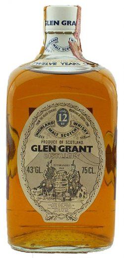 Glen Grant 12y ~1970er Giovinetti/GIB Square Bottle Short Neck White Screw Cap - 43%