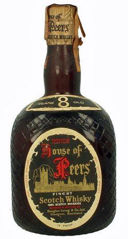 House of Peers 8y ~ 1970er DL dumpy brown bottle 8yo on neck label, Blend - 75°, 43%