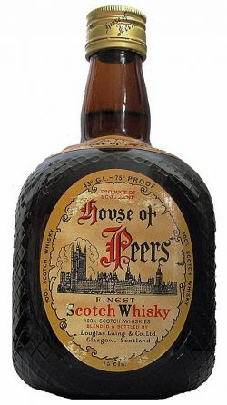 House of Peers ~ Anfang 1980er DL dumpy brown bottle DeLuxe Blend – 75°, 43%