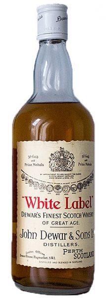Dewar's White Label 1970er Cream label, red letters, white screw cap - 43%