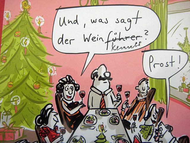 """Karikatur """"Und was sagt uns der Weinkenner?"""""""