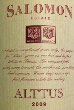 2009 Alttus Finiss River Shiraz, Salomon Estate