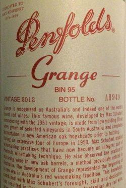 2012 Grange BIN 95, Penfolds