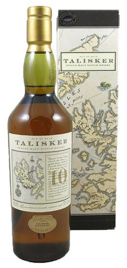 Talisker 10yo ~1992 OB Old label map - brown glas Classic Malt 70cl - 45,8%